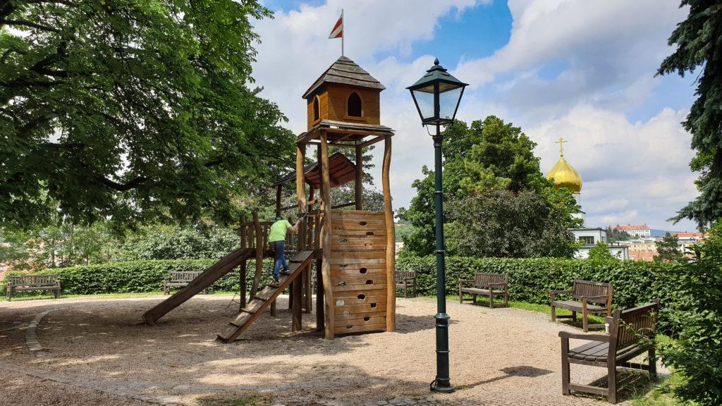Brno, park Špilberk - hřiště Gorazdova