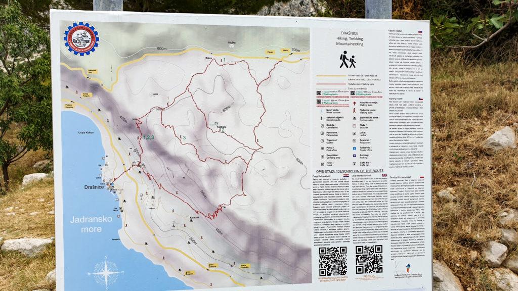 Mapa turistických tras nad Drašnicí, Chorvatsko