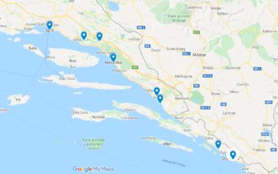 Dalmácie Chorvatsko - interaktivní mapa