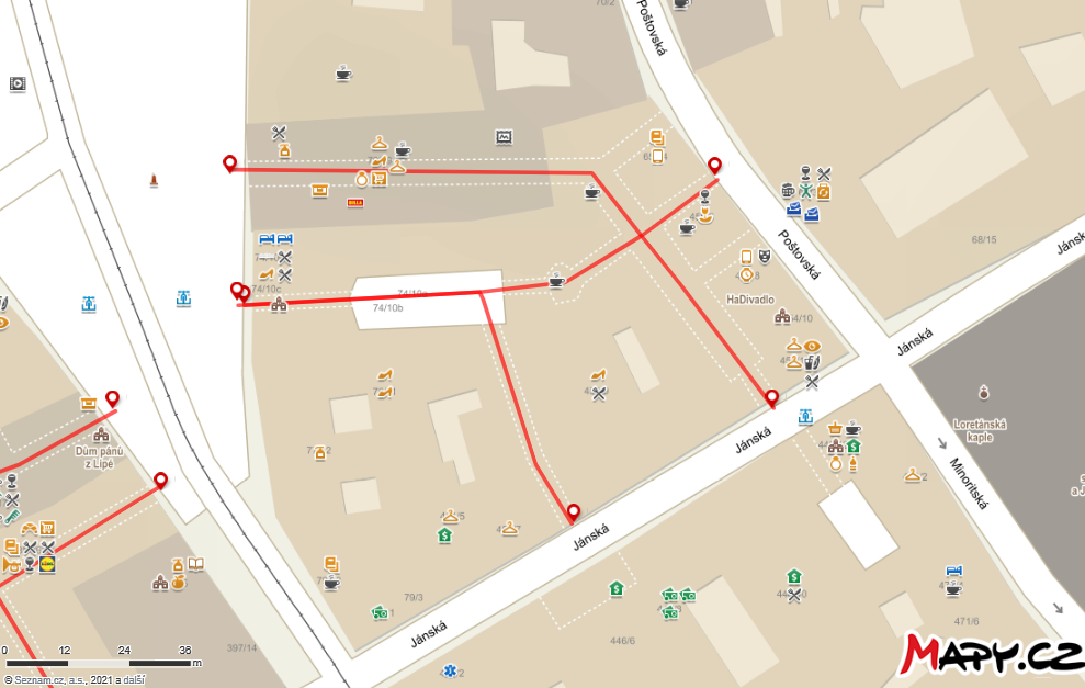 Interaktivní mapa - Pasáž Alfa a Omega