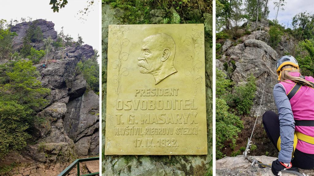 Ferrata Vodní brána a pamětní deska u začátku Riegrovy stezky