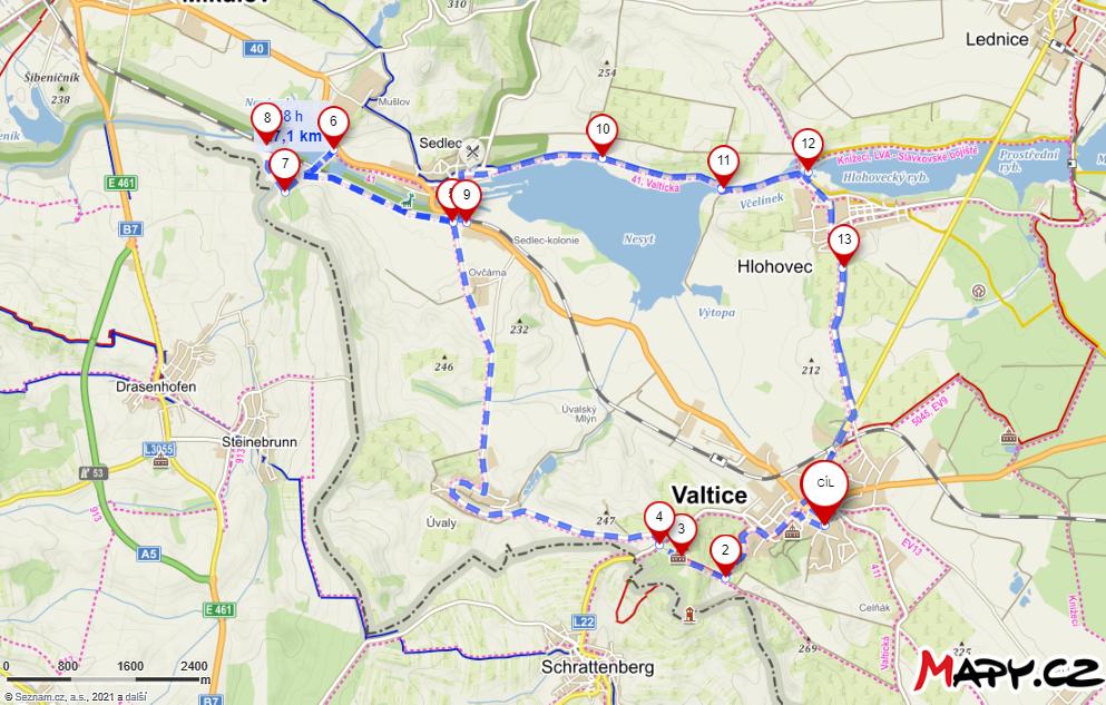 Interaktivní mapa cyklovýlet Valtice