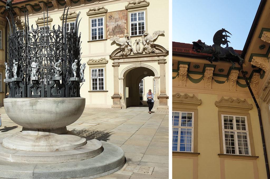 Nová radnice - Chrlič, sluneční hodiny a kašna Rok