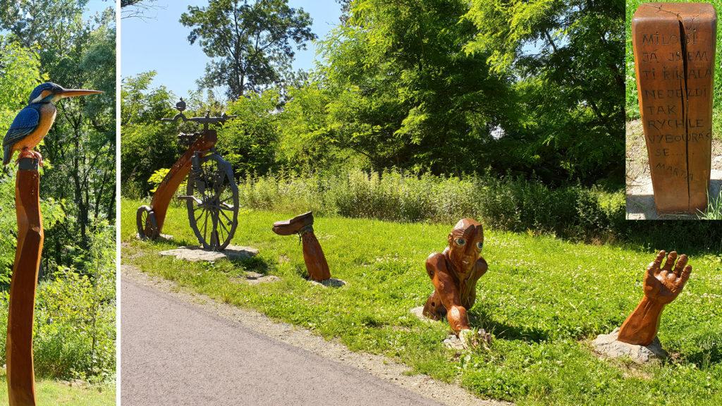 Sochy u cyklostezky Oslavany - Ivančice
